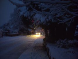 Lights to guide an icy road by hoshi-kagami