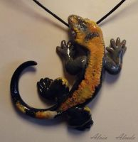 Gecko necklace commission by AlviaAlcedo