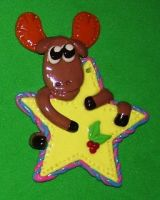 Moose and star ornament by ladytech