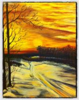 Snowy Sunset by carlyscanvas