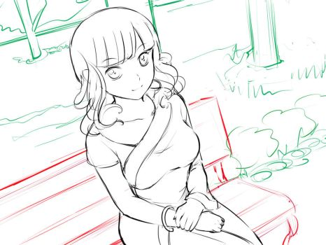 Beli at the Park CG Photo Sketch by HuniePot