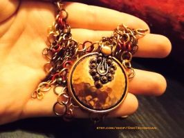 Copper Medallion Chainmail Necklace (5) by ulfchild