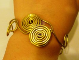 Golden Double-Spiral bracelet by beadsofcompassion