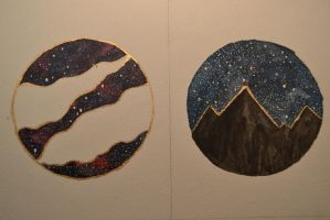 Gold ink galaxies by ChiyoArt