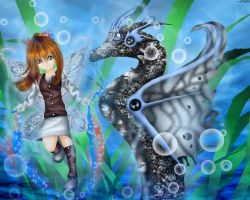 Sea Fey and Dragon by AnotherLuciDreamer
