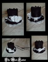 Black and White Satin Top Hat by mad-hatter-inc