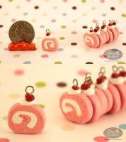 Pink Velvet Cake-Roll Charms by chat-noir