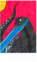 My Godzilla GMK drawing. Scanner quality. by hugeben