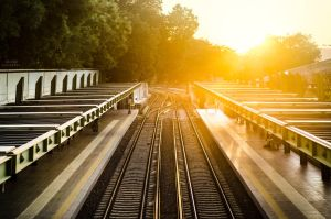 Railroads at sunset by MarioGuti