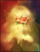 Lady with glowy sparkly hands by RonzyLady