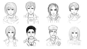 AoT/SnK character sketches by nika-chann