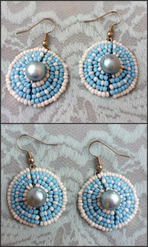 Blue + white, glass and freshwater pearl earrings by EverAfterDesigns