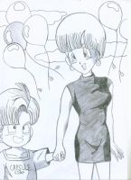 Trunks and Bulma by ayuuri