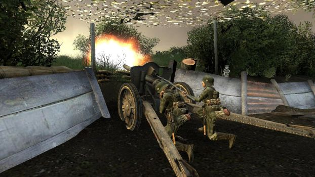German Artillery Firing At The Town of Carentan. by TheSniperKid