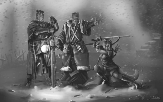 Frostgrave: Wizard, Knight and Huntress by StugMeister