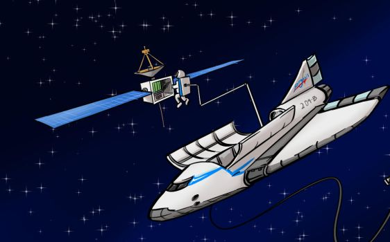 close up on the space plane by Shieltar