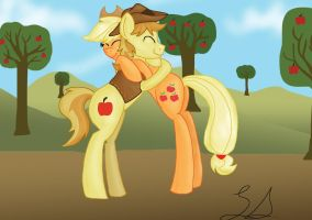 Gift: Braeburn and AJ hugging by some-pegasister