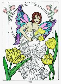 Tulip Fariy - Coloring Book Page by WhiterRose
