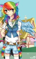 Humanized Rainbowdash coloured by MangaCrazy101