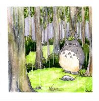 Totoro in the rain by bohemiananimegirl