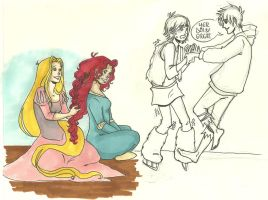 Tangled, HTTYD, Brave, ROTG doodles by LilyScribbles