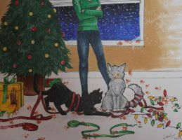 Christmas Cats by LollypopWolf