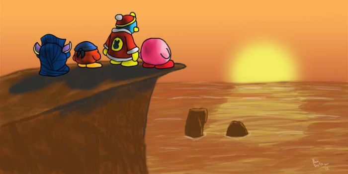Kirby and crew at the sunset by BooDestroyer89