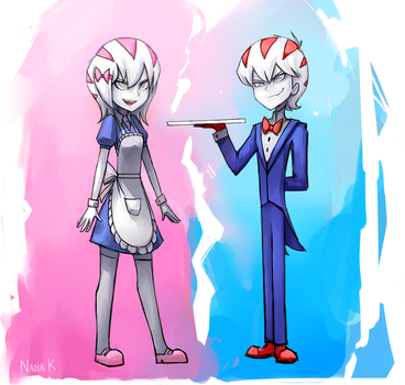 Peppermint Butler (human and female ver.) by RiaFire