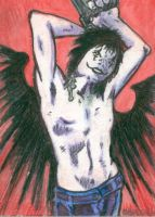 The Crow sketchcard by ragzdandelion