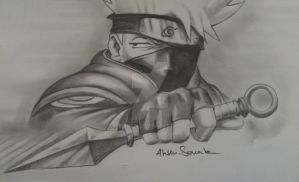 kakashi hatake swings kunai kn by tixrain