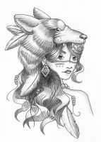 Girl in Wolf's Clothing Tattoo Design by starbuxx