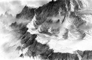 Mountain range sketch by Daandric