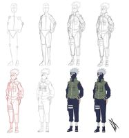 Step by step: Hatake Kakashi by Johnny-Wolf