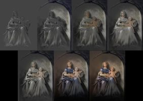 Mother and Child - Painting process by adrianamusettidavila