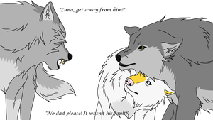 Ralphy snarling at Sat and Luna by TheBrightServant3