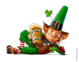 Elf leprechaun with beer for saint patrick's day. by aleksangel