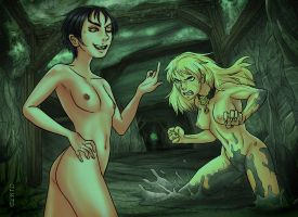 Angua vs Sally -nudity- by rubendevela