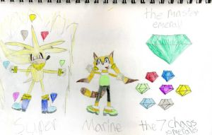 Super Silver, Marine, The Chaos Emeralds And T by emerswell