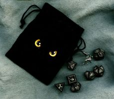 Wolf's Glowing Dice + Bag by Siobhan68