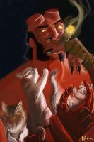 Hellboy and Kittens by Haluuzengenix