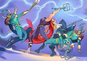 Thor: Enough trickery Loki by nunchaku