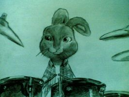 evee the drumer easter bunny by blueskyhigh