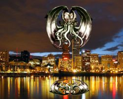 Cthulhu Over Portland by AndPlusAmpersandAlso
