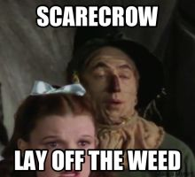 Scarecrow on Weed by dinochickrox