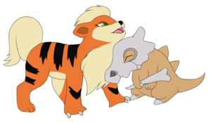Growlithe and Cubone by Kainaa