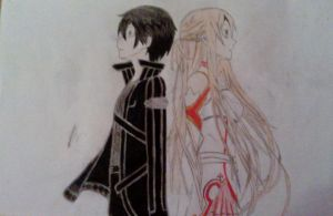 Kirito and Asuna SAO COLOURED! by Haphazard241000