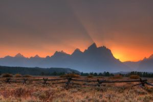 Teton Sunset HDR by mikewheels