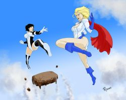 Power Girl and Atlee by fukujinzuke