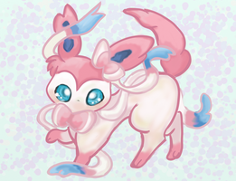Art Trade with Ricky247 - Chibi sylveon by aikawarazu-desu