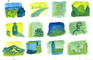 Yellow and Blue watercolour thumbnails 2 by Poorartman